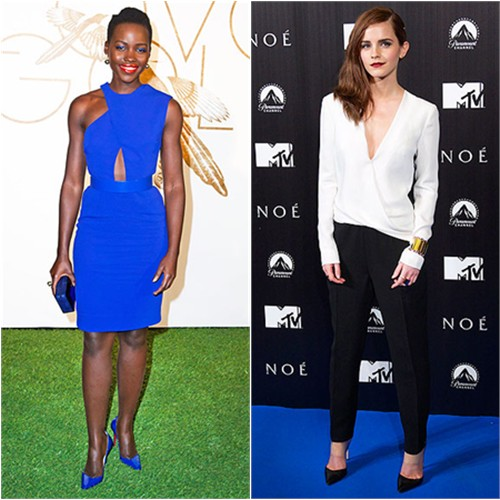Lupita's dress by Stella McCartney, purse by Rauwolf, shoes by Christian Louboutin; Emma's jumpsuit by J. Mendel, shoes by Giavito Rossi
