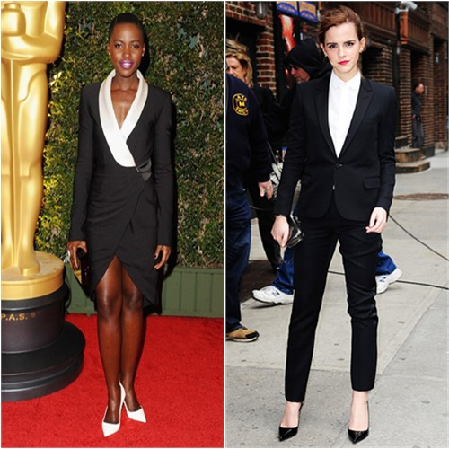 Lupita's dress by Prabal Gurung, purse by Charlotte Olympia, shoes by Christian Louboutin; Emma's suit by Saint Laurent, purse by Reese Hudson, shoes by Christian Louboutin