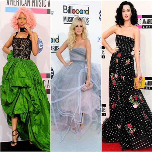 Nicki Minaj at the 2011 American Music Awards; Carrie Underwood at the 2012 Billboard Music Awards; Katy Perry at the 2013 American Music Awards