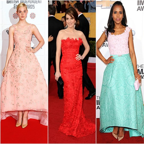Elle Fanning at the 2012 British Independent Film Awards; Tina Fey at the 2011 SAG Awards; Kerry Washington at the 2013 NAACP Image Awards