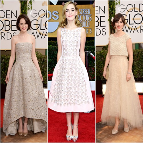 Michelle Dockery at the 2014 Golden Globes; Kiernan Shipka at the 2013 SAG Awards; Zooey Deschanel at the 2014 Golden Globes