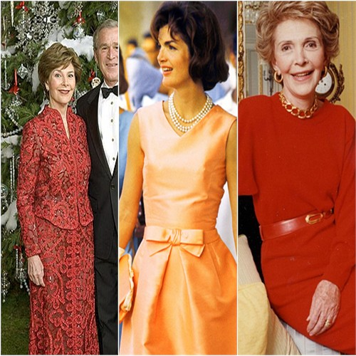Laura Bush, Jackie Kennedy, and Nancy Reagan in Oscar de la Renta