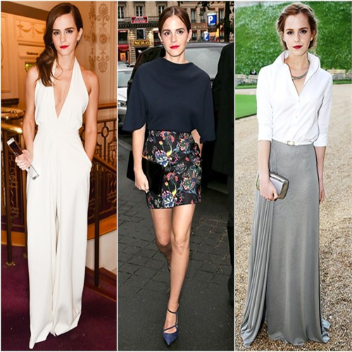 Emma Watson in Misha Nonoo, Christian Dior, and Ralph Lauren