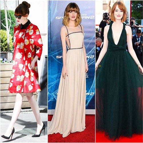 Emma Stone in Brock, Prada, and Valentino