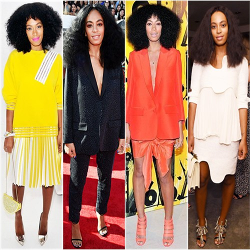 Solange Knowles in Christopher Kane, H&M, Acne, and Tata Naka