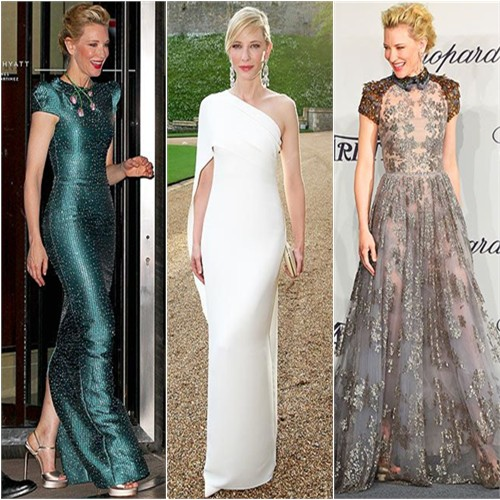 Cate Blanchett in Armani Privé, Ralph Lauren, and Valentino