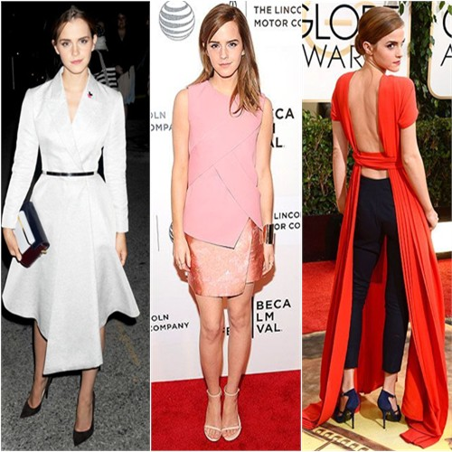 Emma Watson in Christian Dior, Narciso Rodriguez, and Christian Dior