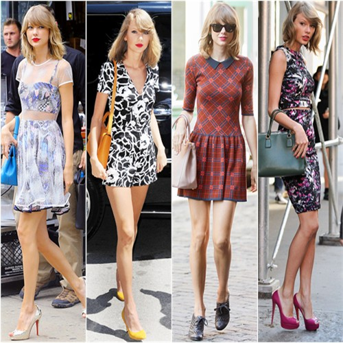 Taylor Swift in Novis, Suno, Cynthia Steffe, and Aqua