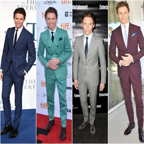 Eddie Redmayne in Hardy Amies, Burberry Prorsum, Alexander McQueen, and Burberry
