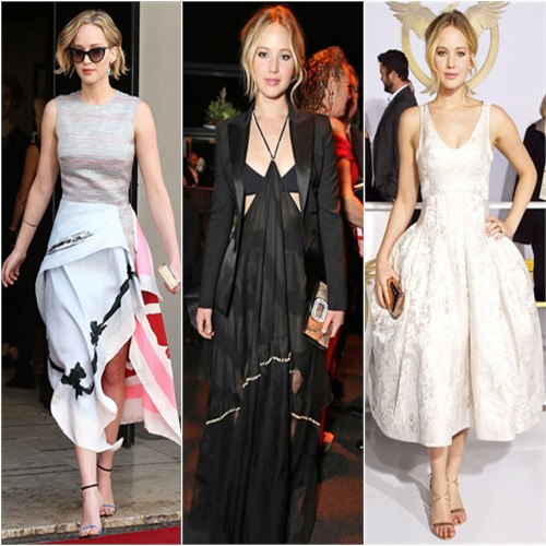 Jennifer Lawrence in Christian Dior, Altuzarra, and Christian Dior