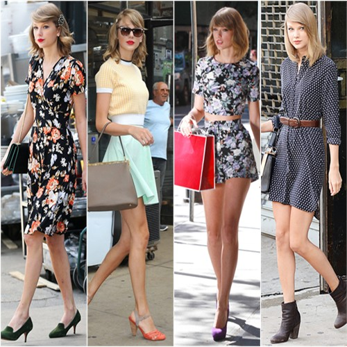 Taylor Swift in ModCloth, Miu Miu/Topshop, Asos, and Equipment