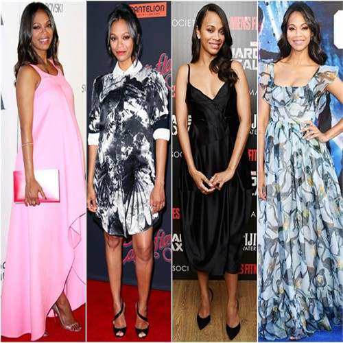 Zoe Saldana in Christian Dior, Preen, Lanvin, and Valentino