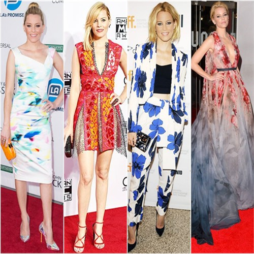 Elizabeth Banks in Roland Mouret, Peter Pilotto, Chloé, and Elie Saab