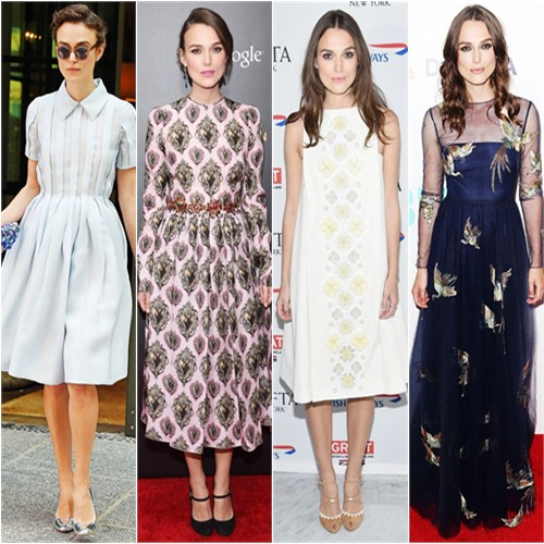 Keira Knightley in Prada, Dolce & Gabbana, Holly Fulton, and Valentino