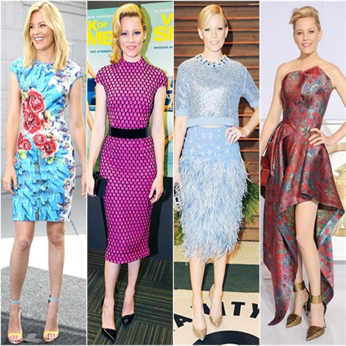 Elizabeth Banks in McQ, Monique Lhuillier, Jenny Packham, and Leonard