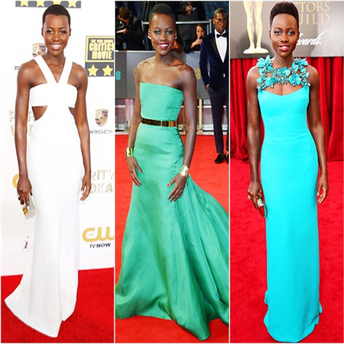 Lupita Nyong'o in Calvin Klein, Christian Dior, and Gucci