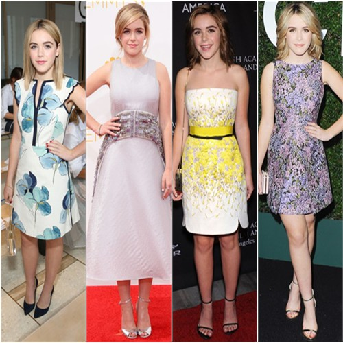 Kiernan Shipka in Tory Burch, Antonio Berardi, Giambattista Valli, and Michael Kors