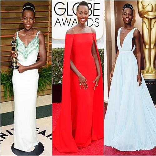 Lupita Nyong'o in Miu Miu, Ralph Lauren, and Prada