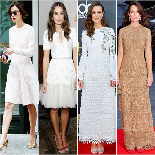 Keira Knightley in Huishan Zhang, Chanel, Giambattista Valli, and Valentino