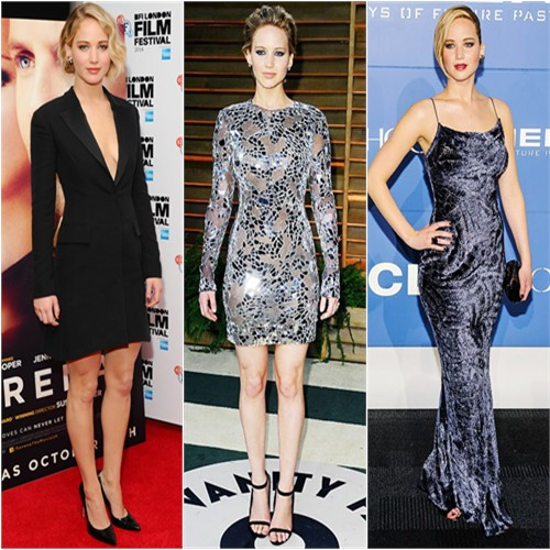 Jennifer Lawrence in Christian Dior, Tom Ford, and Jason Wu