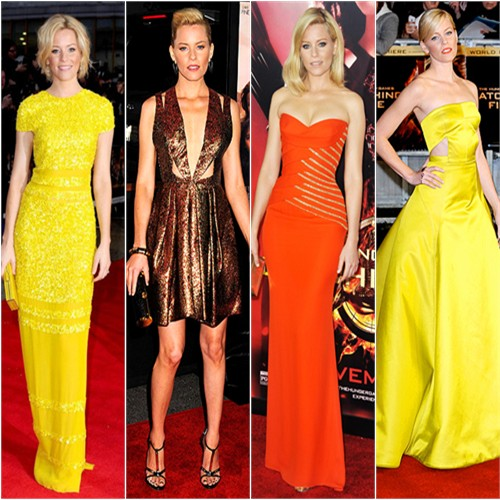 Elizabeth Banks in Bill Blass, J. Mendel, Versace, and Jason Wu