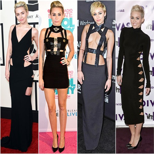 Miley Cyrus in Alexandre Vauthier, Versace, Tom Ford, and Norma Kamali