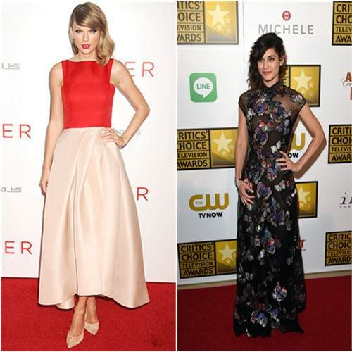 Taylor in Monique Lhuillier; Lizzy in Valentino