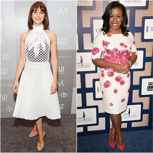 Felicity in Dior; Uzo in L.K. Bennett
