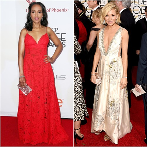 Kerry in Zuhair Murad; Sienna in Miu Miu