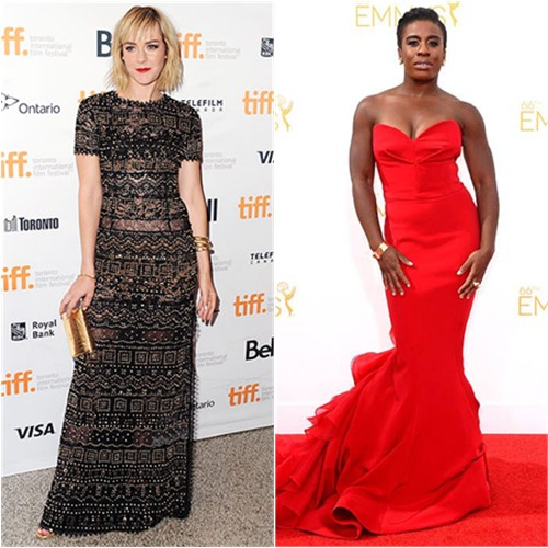 Jena in Emilio Pucci; Uzo in Christian Siriano