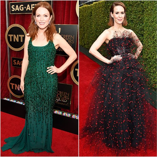 Julianne in Givenchy; Sarah in Armani Privé