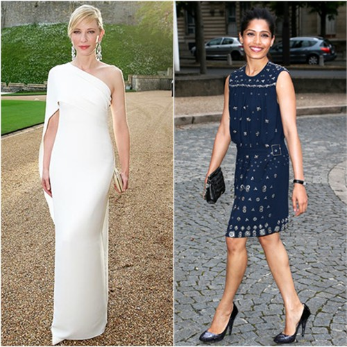 Cate in Ralph Lauren; Freida in Miu Miu