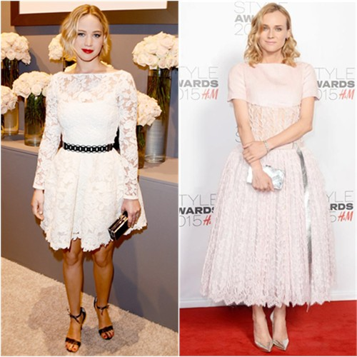 Jennifer in Oscar de la Renta; Diane in Chanel