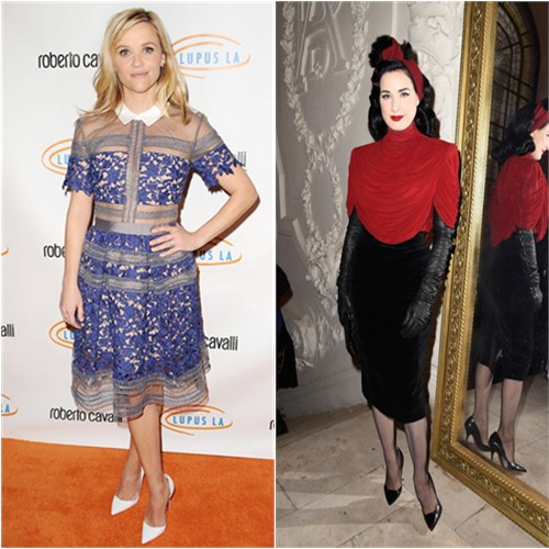 Reese in Self Portrait; Dita in Jean Paul Gaultier