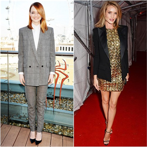 Emma in Saint Laurent; Rosie in Balmain/Antonio Berardi