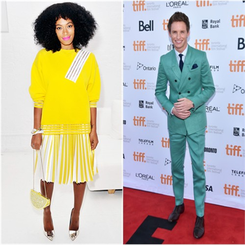 Solange in Christopher Kane; Eddie in Burberry Prorsum