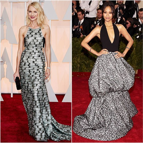 Naomi in Armani Privé; Zoe in Michael Kors