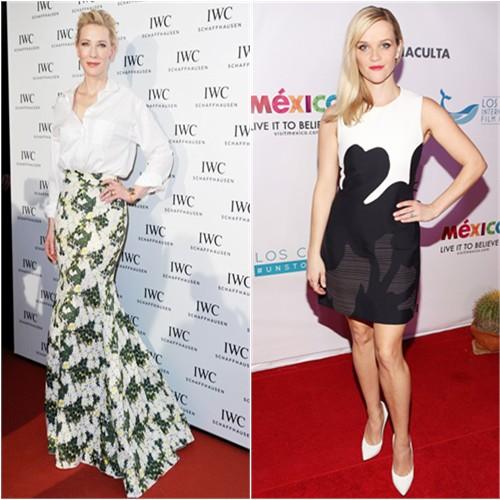 Cate in Giambattista Valli; Reese in Calvin Klein