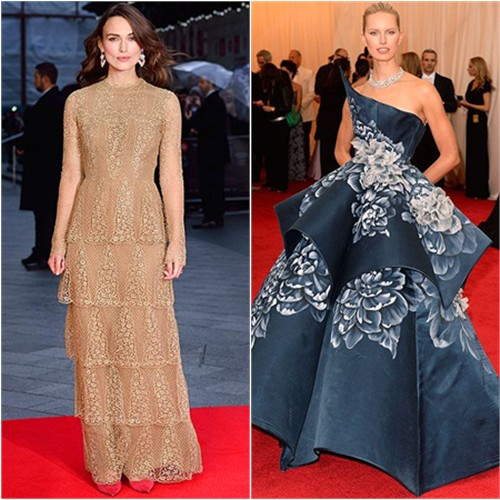 Keira in Valentino; Karolina in Marchesa