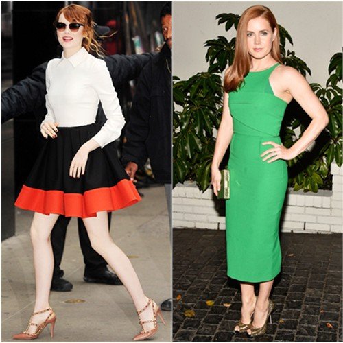 Emma in Valentino; Amy in Roland Mouret
