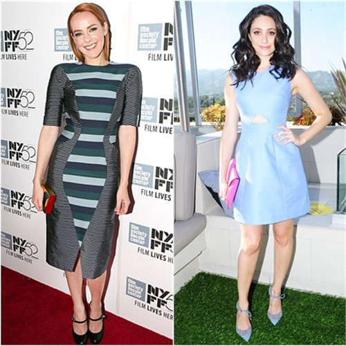 Jena in Thom Browne; Emmy in Kate Spade