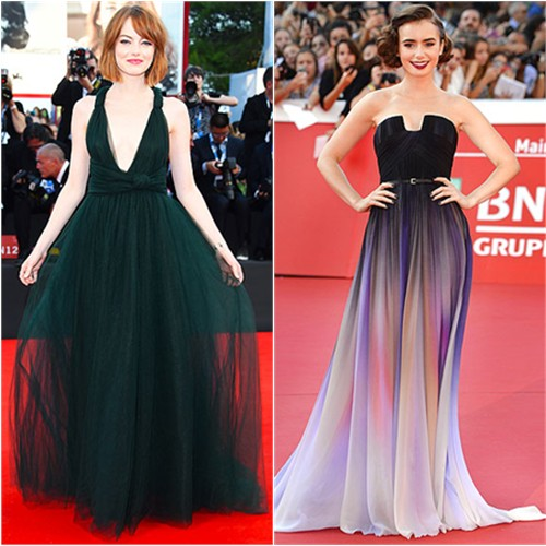Emma in Valentino; Lily in Elie Saab