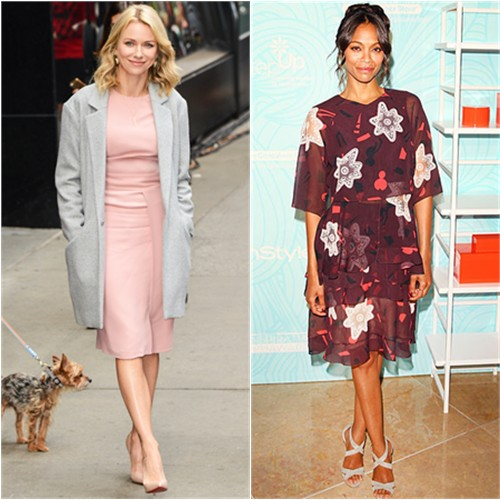 Naomi in Elie Saab; Zoe in Chloé