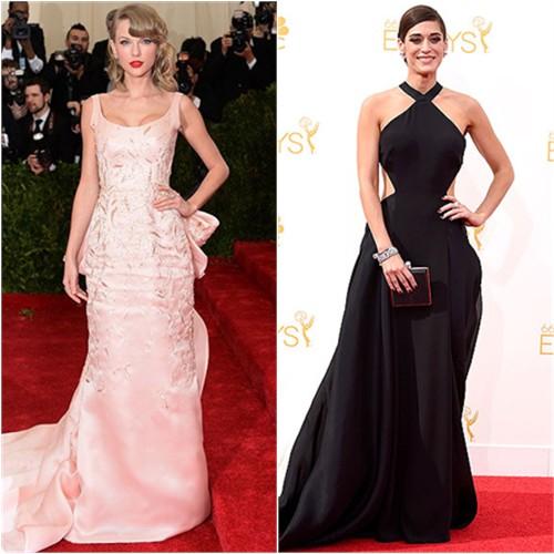 Taylor in Oscar de la Renta; Lizzy in Donna Karan