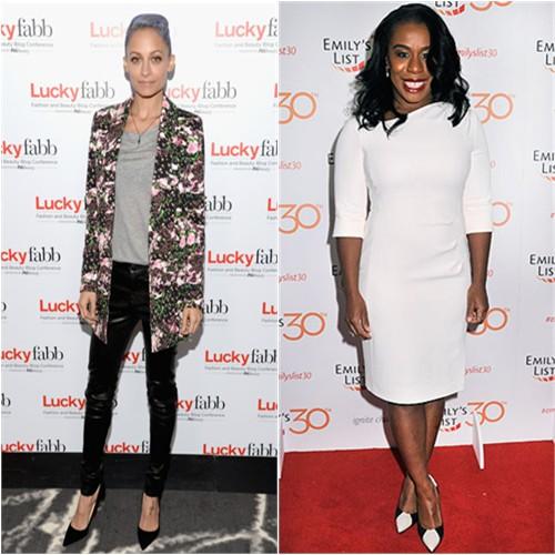 Nicole in Givenchy/J Brand; Uzo in L.K. Bennett