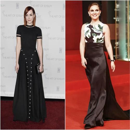 Jena in Adam Selman; Natalie in Dior