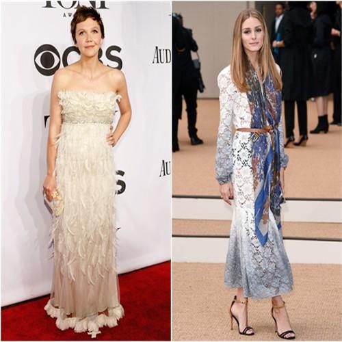 Maggie in Dolce & Gabbana; Olivia in Burberry Prorsum