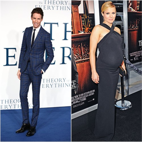 Eddie in Hardy Amies; Kristen in Dsquared2