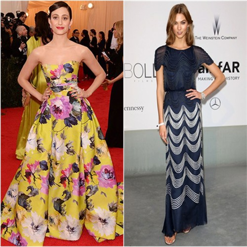 Emmy in Carolina Herrera; Karlie in Chanel