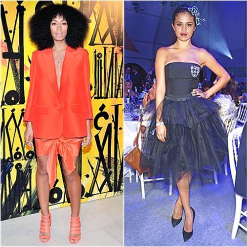 Solange in Acne; Selena in Dior